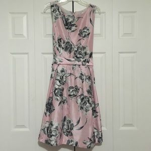 Size 18 pink, grey, and black floral fit and flare